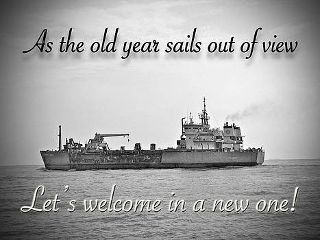 Mother Nature - New Year Greeting Card - Old Year Sails Beyond the Horizon