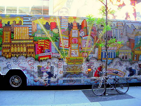 New York City Bus with Bike and Graffiti by Don Struke