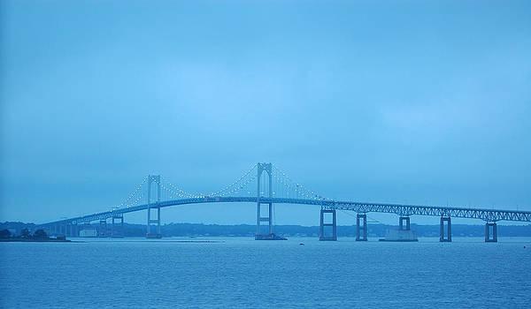Newport RI Claiborne Pell Bridge At Dusk by Mary McAvoy