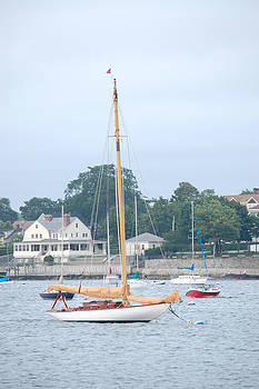 Newport RI Wooden Sailboat by Mary McAvoy