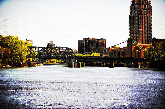 Nicollet Island Bridge Minneapolis by Laurianna Murray