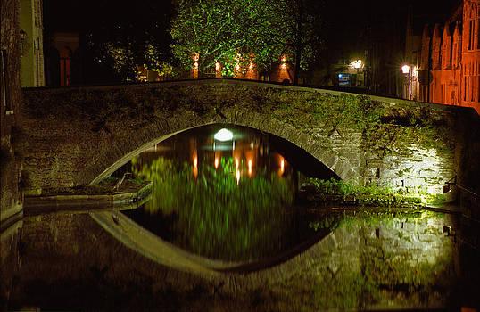 Night Bridge in Brugges by Kurt Weiss