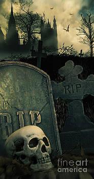 Sandra Cunningham - Night scene in graveyard with skull and graves