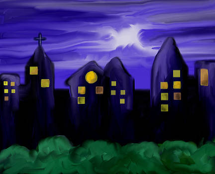 Night Sky View Of The City Buildings by Devika Agarwal