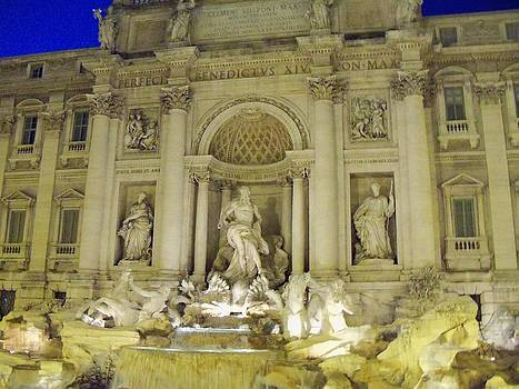 Night Time at Trevi Fountain by Sandy Collier