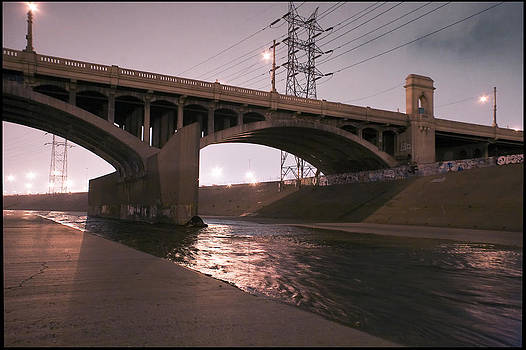Night under 1st Street Bridge in the LA River by Kevin  Break