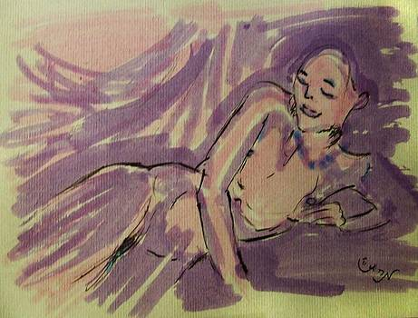 Nude Acrylic Watercolor of Young Female Figure Reclining on Couch in Purple Lavender and Yellow by M Zimmerman