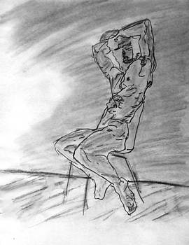 Nude Male Seated on Chair by Wall in Watercolor Sketch Painting with Arms Raised Looking Outward by M Zimmerman