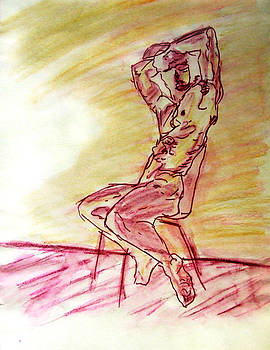 Nude Man Sitting on Chair by Wall in Yellow Purple Sketch Watercolor Arms High Gazing Out View by M Zimmerman
