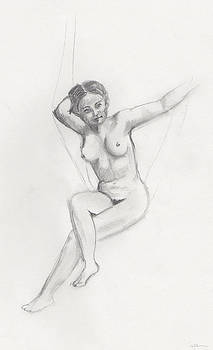 Nude on a swing by Pamela  Corwin