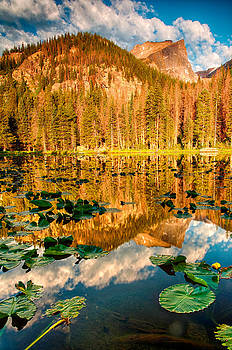 Nymph Lake Sunrise Rocky Mountain National Park 2614  by Ken Brodeur