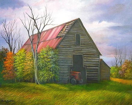 Old Barn and Tractor in Georgia by Vivian Eagleson