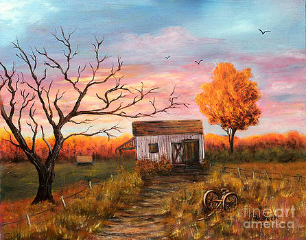 Old Barn Painting at Sunset by Judy Filarecki
