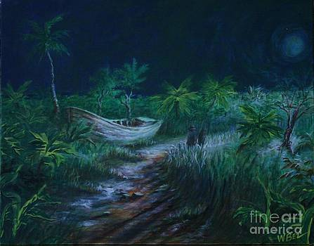 Old Boat in Moonlight by William Bezik