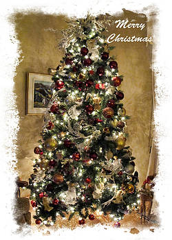 Chantal PhotoPix - Old-fashioned Christmas Tree Scenes Framed - Seasonal Holiday Display w Glitter Ornaments and Lights