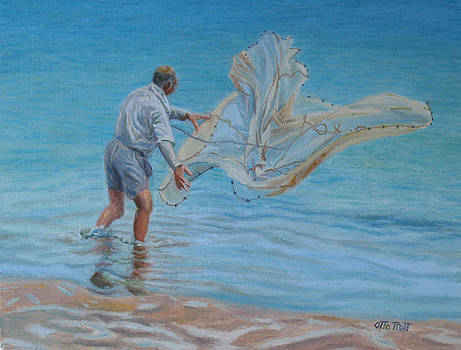 Old Man Casting Net by Otto Trott