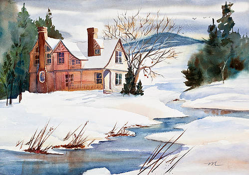 On a Winters Day Watercolor Painting by Michelle Constantine