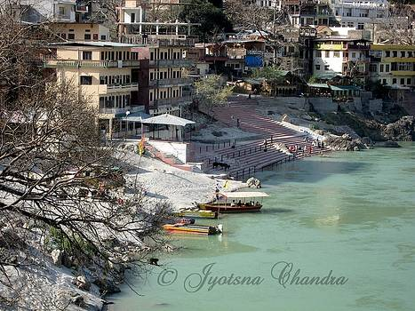On the banks of the river Ganga India by Jyotsna Chandra