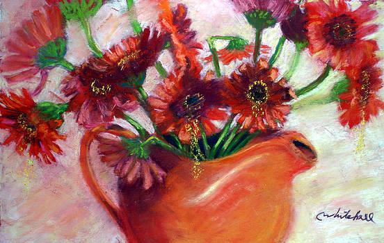 Orange Flowers Orange Pitcher by Cheryl Whitehall