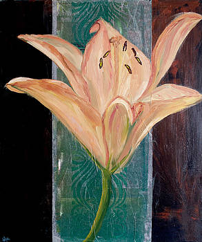 Orange Lily on Brown by Samar Asamoah