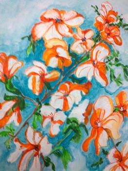 Orange Orchids by Seema Sharma
