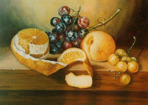 Orange with peel by Erika Lukacs