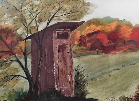 Outhouse in Fall Splendor by Christine Krantz
