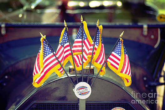 Overland Vintage Car with Flags by Floyd Menezes