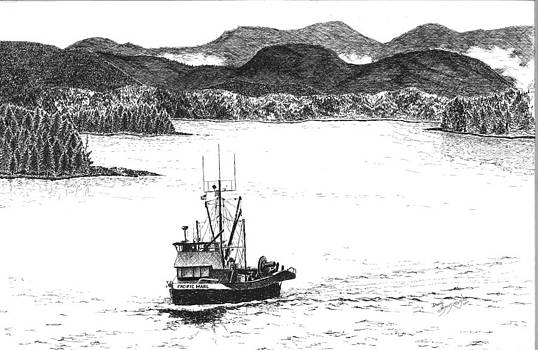 Pacific Marl Pen and Ink by David Ignaszewski