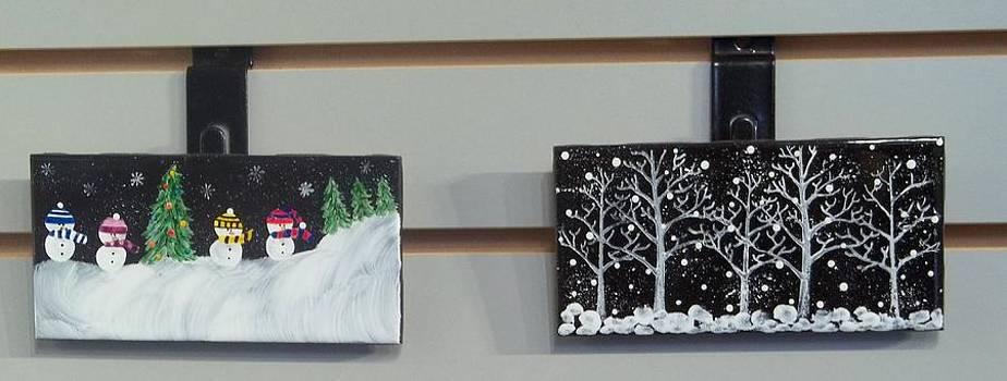 Painted Christmas Tiles by Joyce Kerr