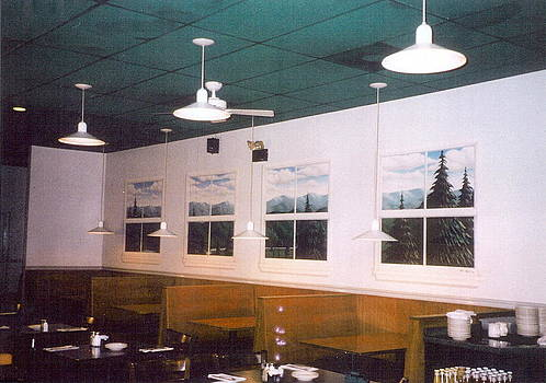Painted Windows Mural Old Hickory Grille Burtonsville Md by Matt Mercer