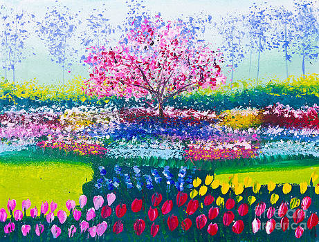 Painting Of Tulip Flowers Field And Tree by Mongkol Chakritthakool