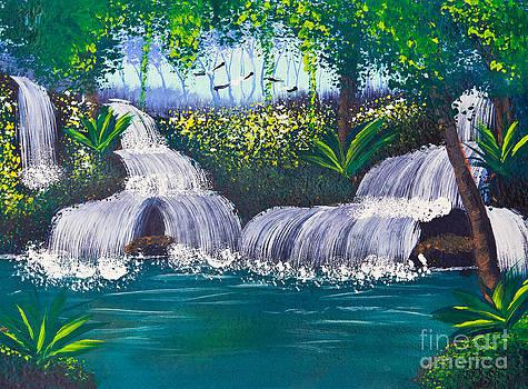 Painting Of Water Fall by Mongkol Chakritthakool