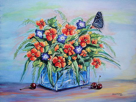 Pansy Still Life with Cherries by Sandra Lett
