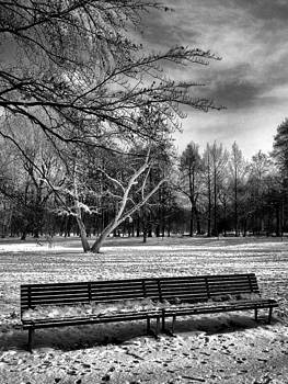 Park bench in the snow 1 - black and white by Ettore Zani