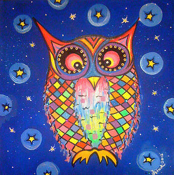 Patchwork Owl Commission Print by Jonathan Kania
