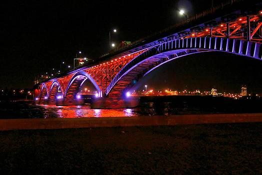 Peace Bridge at Night by Jim Koniar