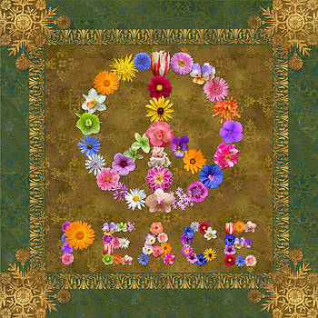Peace Sign with Peace in Flowers by Susan Ragsdale