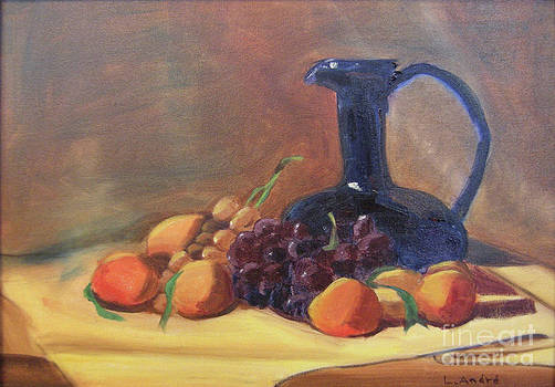 Peaches and Blue Pitcher by Lilibeth Andre