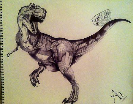 Pen Drawing of T-Rex by Maritza Montnegro