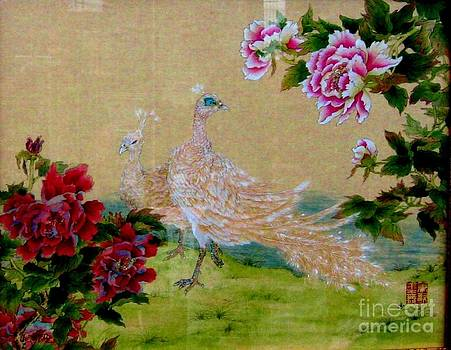Peonie With Peacock by Hsiu  Norcott
