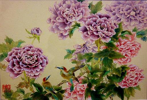 Peonies And Birds by Hsiu  Norcott