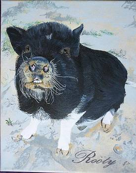Pet Portrait Memorial Black Pot Bellied Pig Made to Order 3 inch x 4 inch with Free Easel  by Shannon Ivins