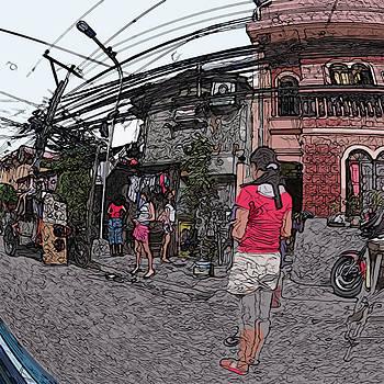 Philippines 1684 Girls Playing on Sidewalk by Rolf Bertram