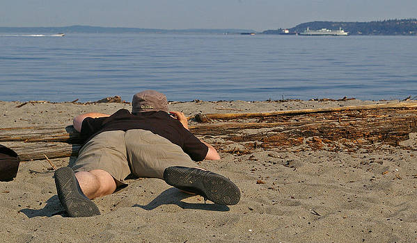 Photographer on Alki Beach Seattle by Christine Burdine