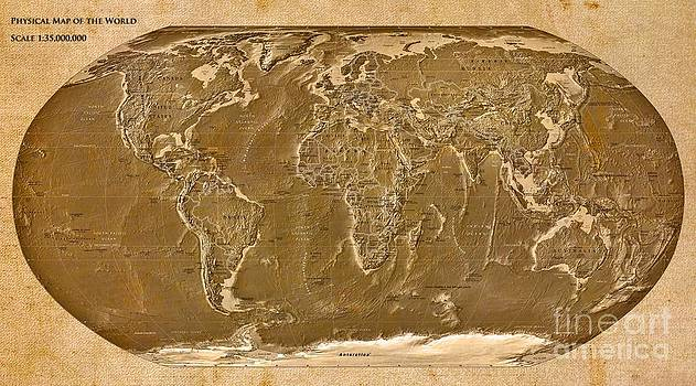 Physical Map of the World by Theodora Brown