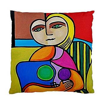 Picasso Style Double Sided Art Pillow Cover No 1  by Janine Antulov