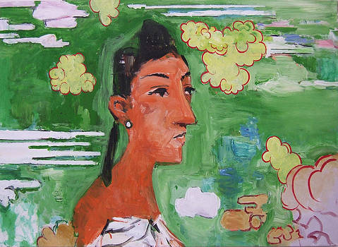 Picassoid Mayra in Chinese Landscape by Richard Huntington