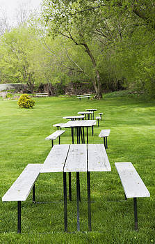 Picnic Tables In A Park In Rockport by Marlene Ford