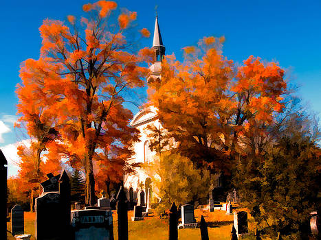 Chantal PhotoPix - Picturesque Church and Cemetery - Autumn Trees in Peak Colors with Orange Leaves - Rural Fall Scene